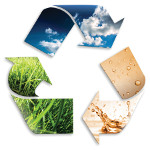 recycling symbol: cloudy sky, water, grass